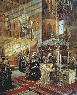 Tsar Alexispraying before the relics of Metropolitan Philip